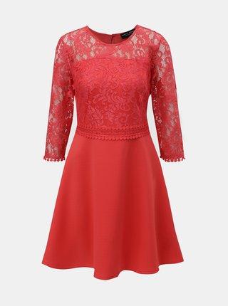 Červené šaty s čipkovaným topom Dorothy Perkins