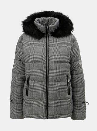 Sivá prešívaná zimná bunda s umelou kožušinkou Dorothy Perkins