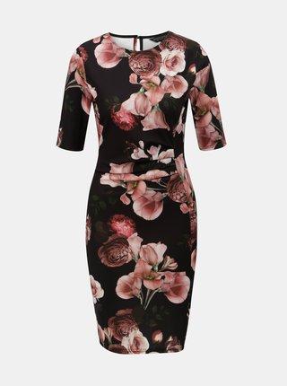 Ružovo–čierne kvetované šaty s riasením na bruchu Dorothy Perkins
