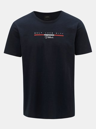 Tmavě modré tričko s potiskem Burton Menswear London