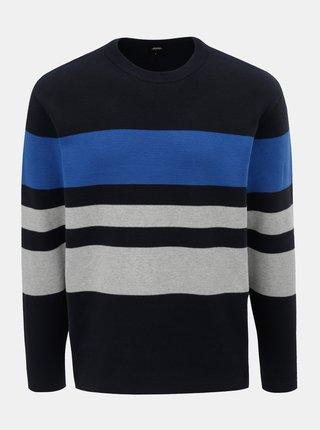 Pulover albastru inchis in dungi Burton Menswear London