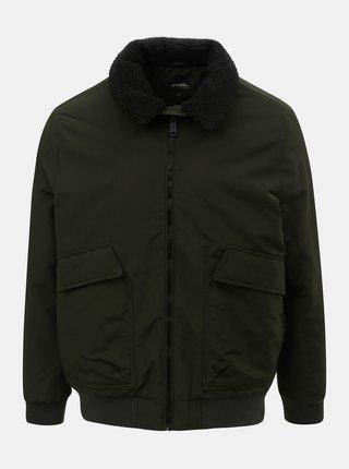 Jacheta kaki de iarna cu blana artificiala pe guler Burton Menswear London
