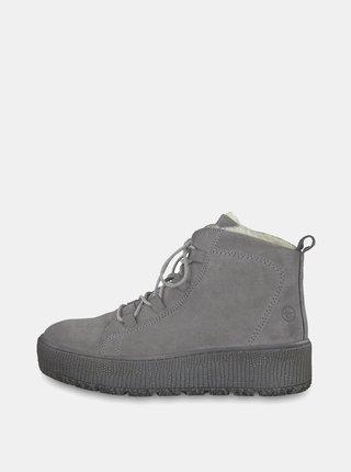 Šedé semišové kotníkové zimní boty na platformě Tamaris