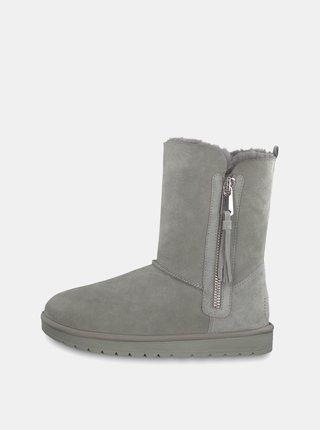 5cf52f01b Hnedé semišové dámske členkové topánky s vnútornou umelou kožušinou ...
