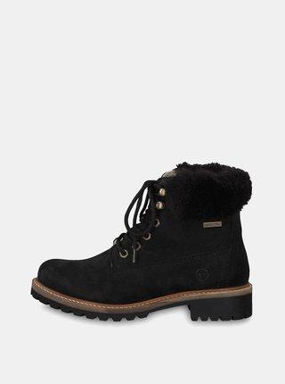 0c3e86aac91e Čierne kožené členkové nepremokavé zimné topánky s vlnenou podšívkou Tamaris