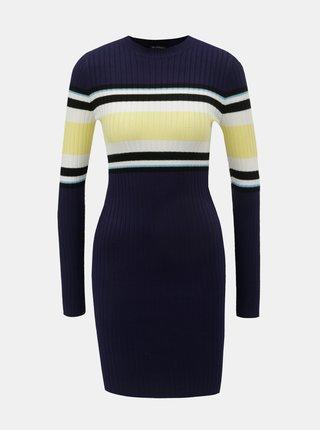 Žlto–modré svetrové šaty s dlhým rukávom Miss Selfridge