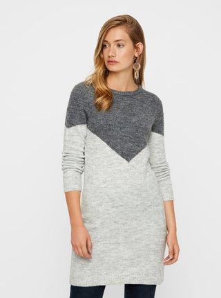 Šedé žíhané svetrové šaty s příměsí vlny VERO MODA