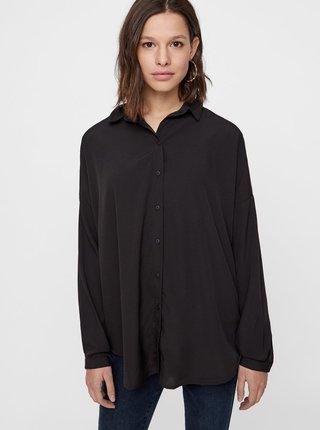 Čierna voľná košeľa s dlhým rukávom VERO MODA AWARE Fabulous