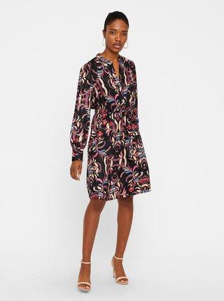 b6e85f2a0946 Čierne kvetované šaty s opaskom VERO MODA Gyana