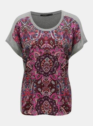 Tricou roz-gri cu pietre decorative Desigual Sevilla