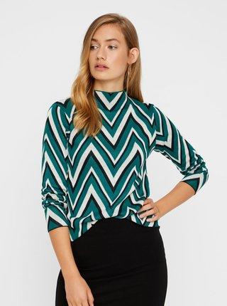 Krémovo-zelený lehký vzorovaný svetr VERO MODA