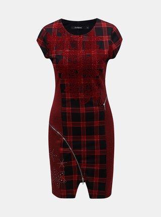 Čierno–červené kockované puzdrové šaty s ozdobnými zipsami Desigual Roma