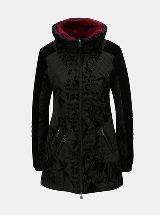 Čierny vzorovaný zimný kabát s odnímateľnou umelou kožušinkou Desigual Morgan