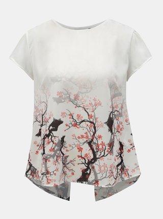 Bluza alba cu model si partea din fata transparenta Desigual Sakura