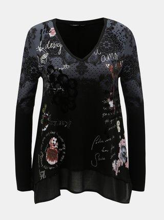 Tricou negru cu model si imprimeu Desigual Kappal