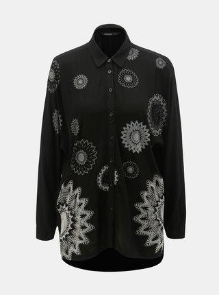Čierna voľná vzorovaná košeľa s predĺženou zadnou časťou Desigual Paula