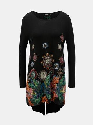 Černý vzorovaný svetr s prodlouženou délkou Desigual Diane
