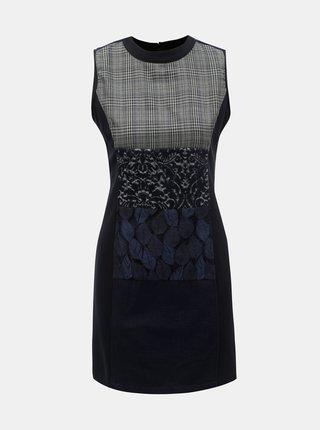 Tmavomodré vzorované šaty bez rukávov Desigual Fernie