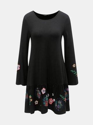 Čierne kvetované šaty s volánom Desigual Surat