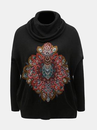 Černý svetr s rolákem a flitry Desigual Cassandra