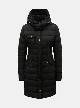 Čierny prešívaný zimný kabát s odnímateľnou kapucňou Desigual Inga