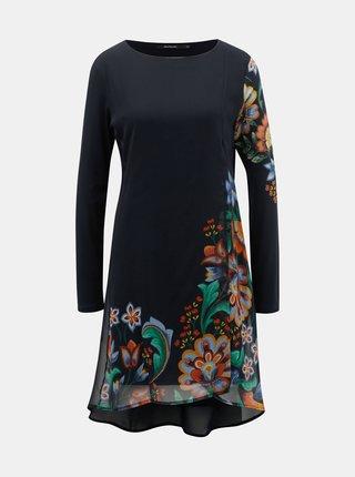 Tmavomodré šaty s motívom kvetov Desigual Utha