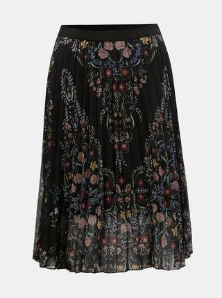 Čierna kvetovaná skladaná sukňa Desigual Frida