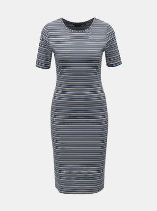 Modré pruhované šaty s krátkym rukávom Dorothy Perkins