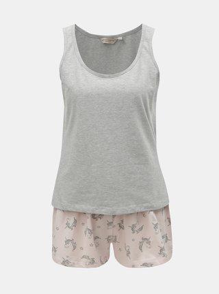 Pijama din 2 piese gri-roz cu motiv unicorn Dorothy Perkins