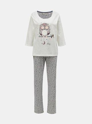 Sivo–krémové dvojdielne pyžamo s motívom sovy Dorothy Perkins