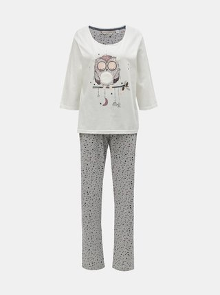 Pijama din 2 piese gri-crem cu motiv bufnita Dorothy Perkins