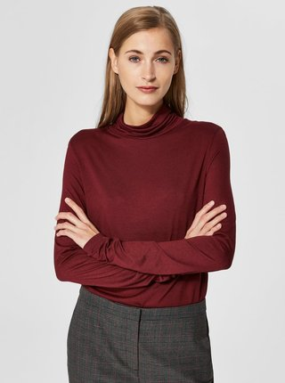 Tricou bordo cu guler inalt si amestec de lana Selected Femme Johanna