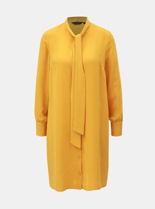 Horčicové košeľové šaty so zaväzovaním Dorothy Perkins