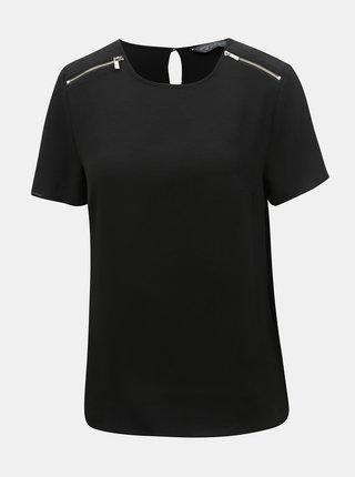 Bluza neagra cu fermoare decorative Dorothy Perkins