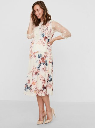 Rochie crem cu model floral si dantela pentru femei insarcinate Mama.licious Veronica