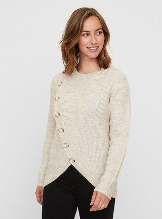 0d3f60a872 Svetlohnedý melírovaný sveter na kojenie s prímesou vlny z alpaky Mama. licious