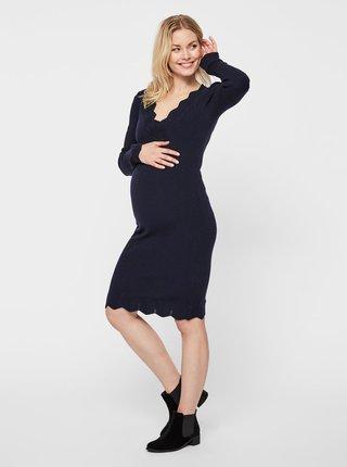 d740e185de95 Tmavomodré tehotenské svetrové šaty Mama.licious Eva