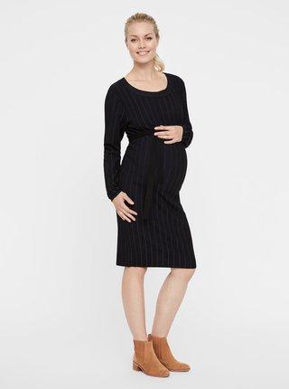 Modro-černé pruhované těhotenské svetrové šaty Mama.licious Bea