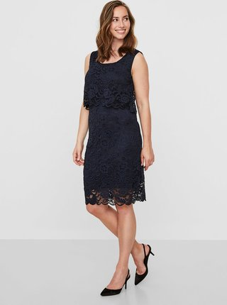 6b77aefc123d Tmavě modré krajkové kojicí šaty bez rukávu Mama.licious