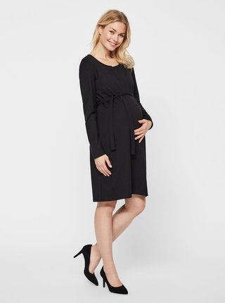 Čierne tehotenské šaty s textilným opaskom Mama.licious Kaja