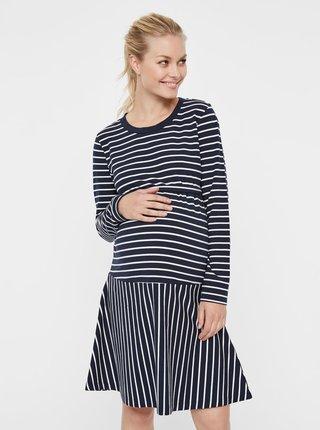 Bílo-modré pruhované těhotenské šaty Mama.licious Molly