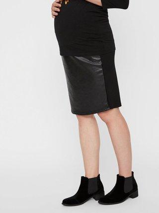Černá koženková těhotenská sukně Mama.licious