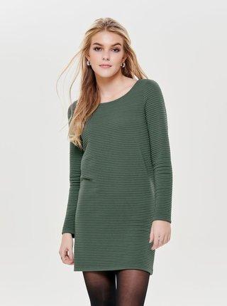 fd39a9bb0ac4 Zelené mikinové rebrované šaty s dlhým rukávom ONLY Naomi