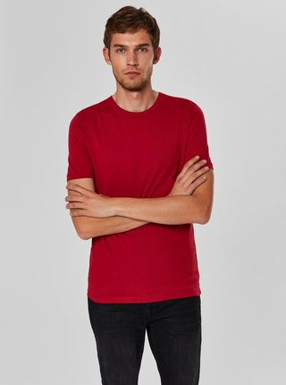 Tricou basic rosu cu maneci scurte Selected Homme Perfect