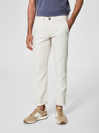 Béžové ľanové nohavice Selected Homme Jeans