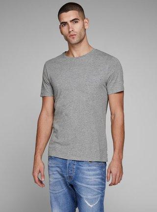 Šedé žíhané slim fit tričko s náprsní kapsou Jack & Jones