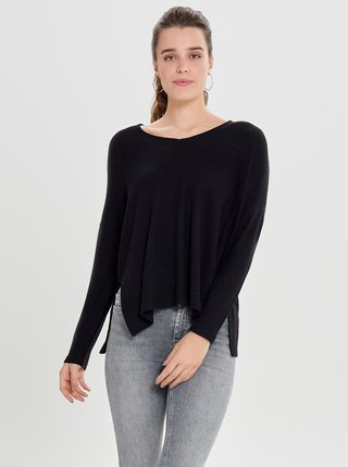 Černý svetr s rozparky ONLY Kleo