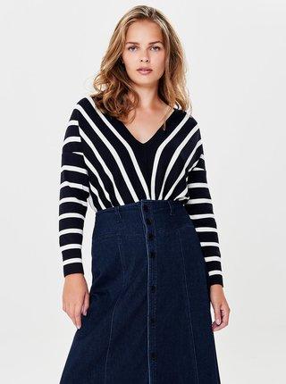 Tmavomodrý pruhovaný sveter s véčkovým výstrihom ONLY Aya