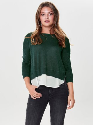 Zelený třpytivý svetr s všitým dílem a rozparkem na zádech ONLY Darling
