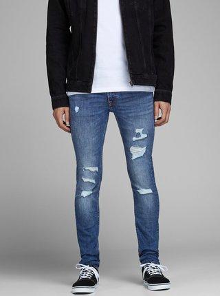 Modré skinny džíny s potrhaným efektem Jack & Jones Liam